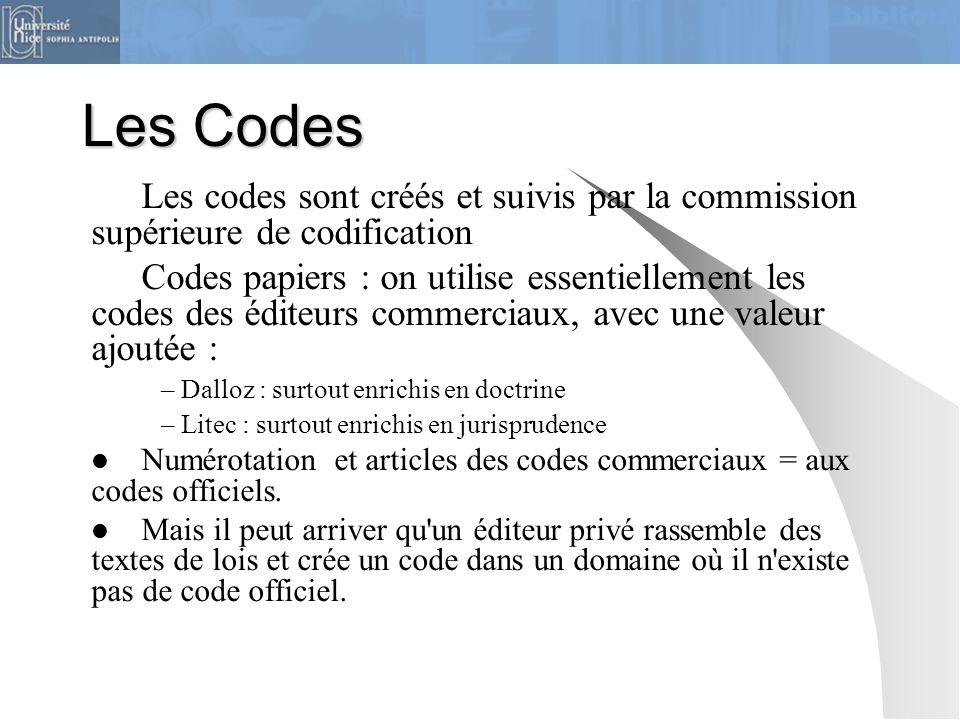 Les Codes Les codes sont créés et suivis par la commission supérieure de codification.
