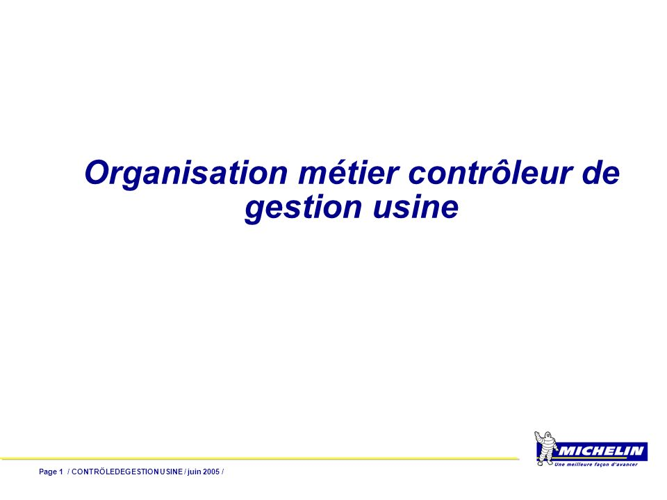 Organisation métier contrôleur de gestion usine