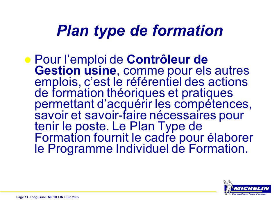 Plan type de formation