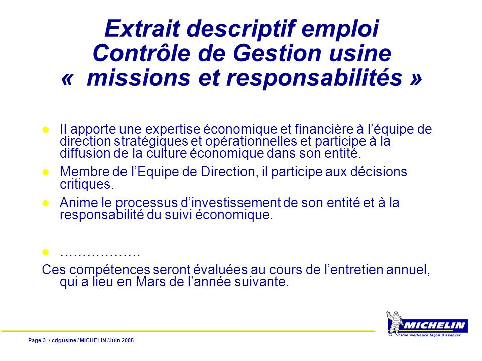 Extrait descriptif emploi Contrôle de Gestion usine « missions et responsabilités »