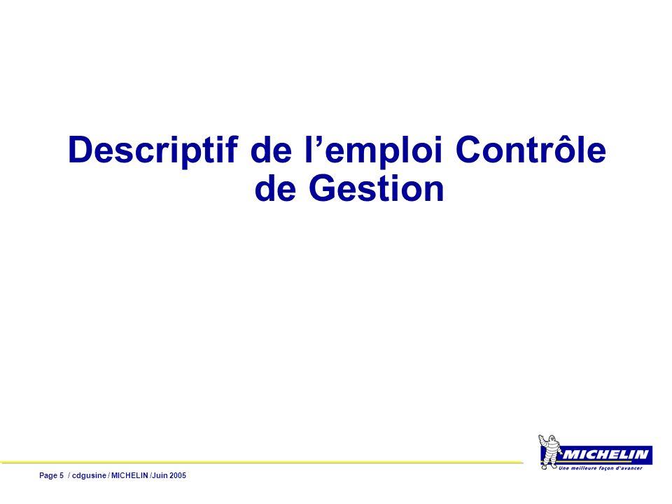 Descriptif de l'emploi Contrôle de Gestion