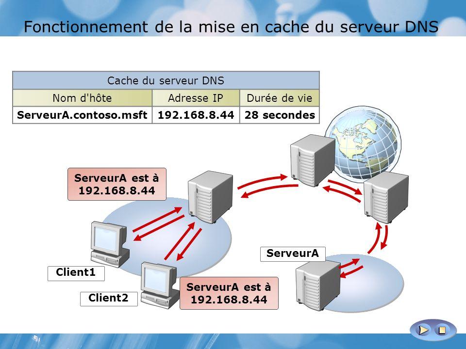 Fonctionnement de la mise en cache du serveur DNS