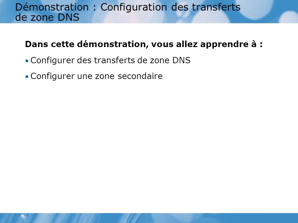 Démonstration : Configuration des transferts de zone DNS