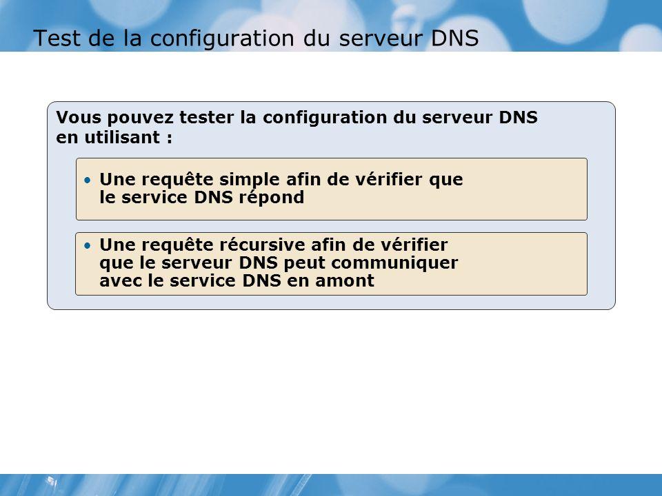 Test de la configuration du serveur DNS