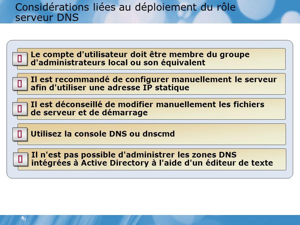 Considérations liées au déploiement du rôle serveur DNS