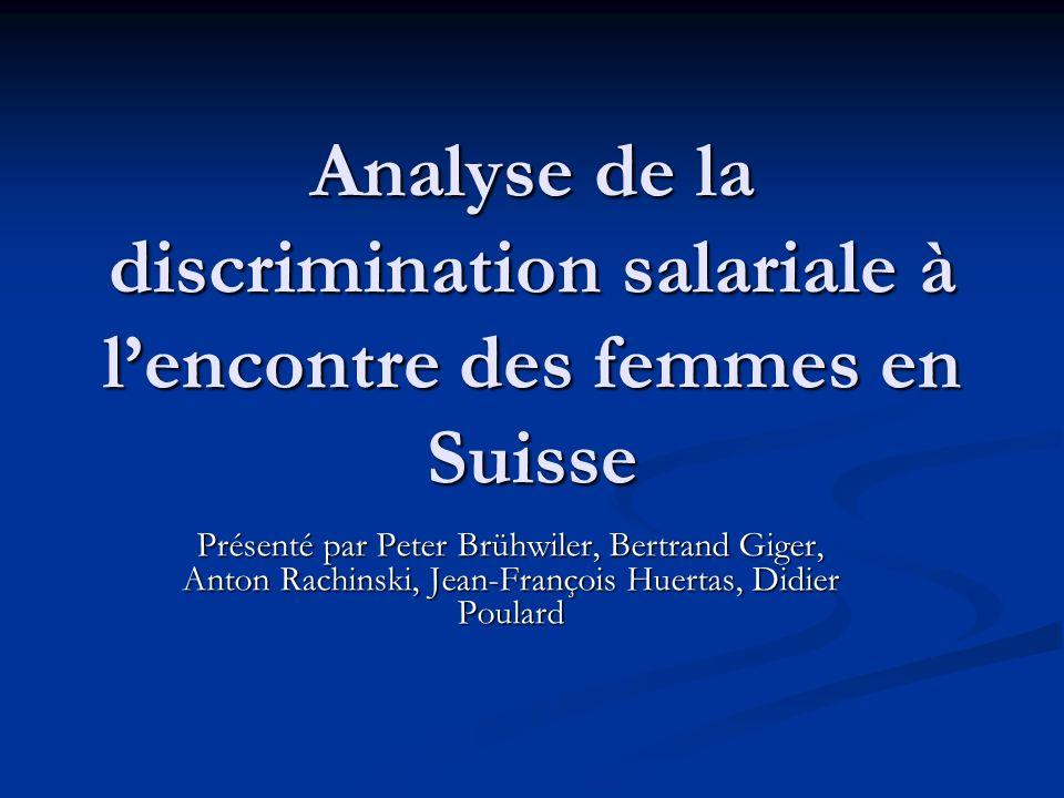 Analyse de la discrimination salariale à l'encontre des femmes en Suisse