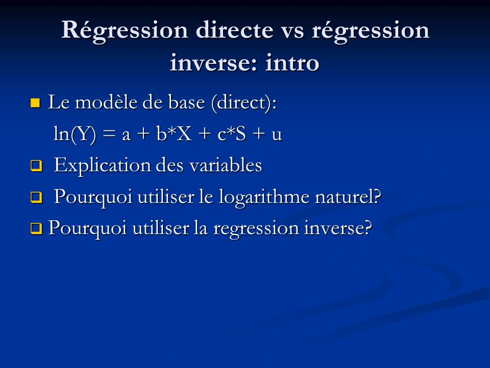 Régression directe vs régression inverse: intro
