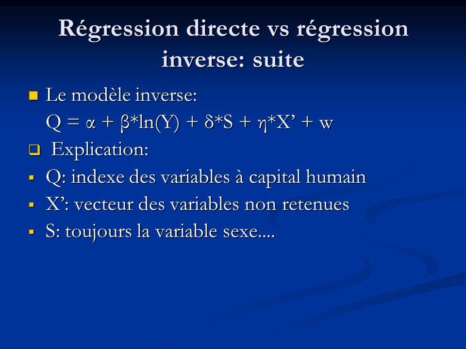 Régression directe vs régression inverse: suite