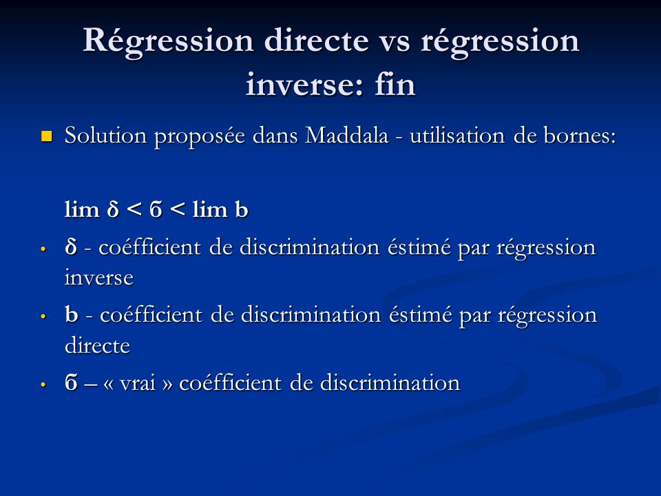 Régression directe vs régression inverse: fin