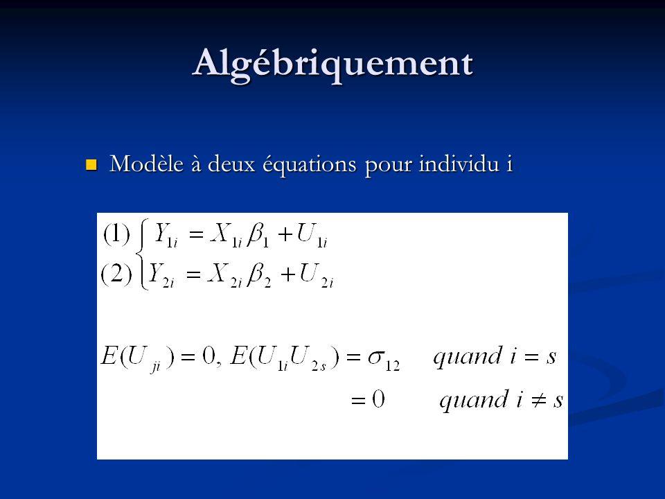 Algébriquement Modèle à deux équations pour individu i