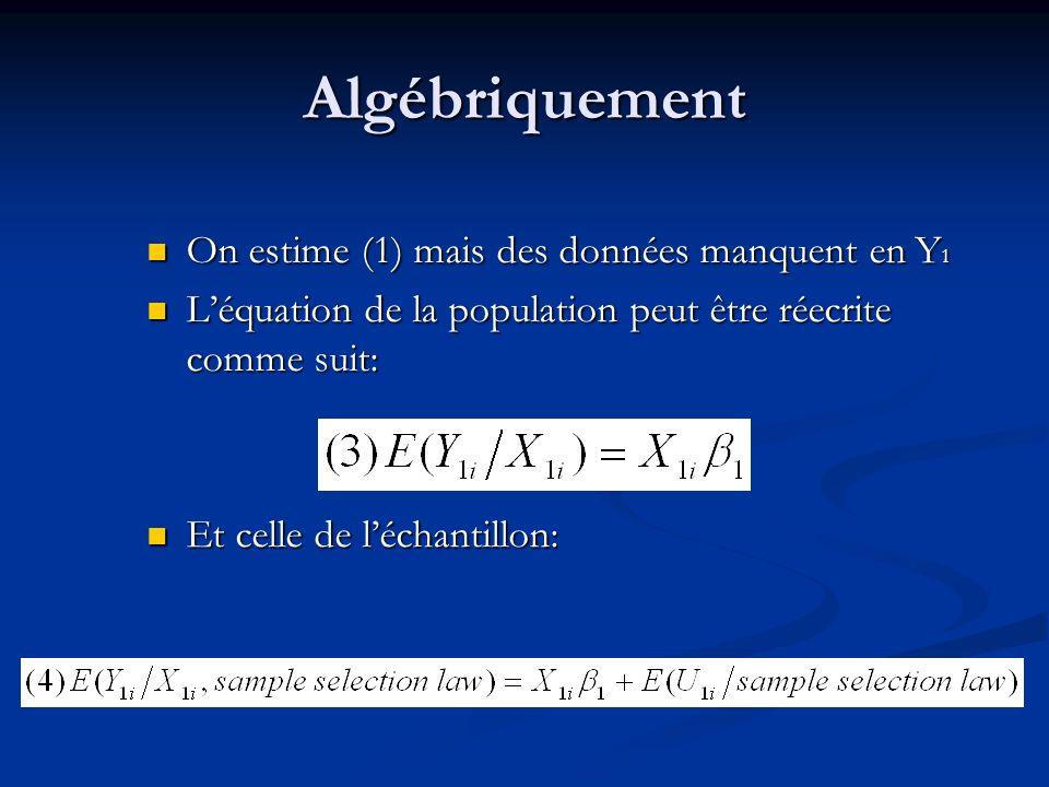 Algébriquement On estime (1) mais des données manquent en Y1