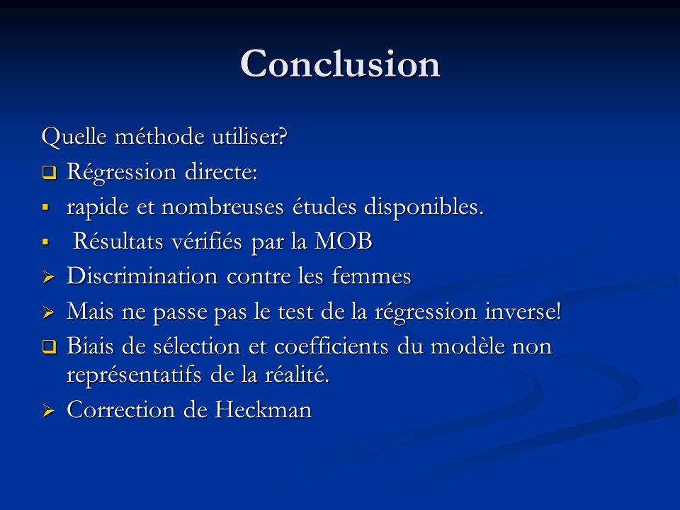 Conclusion Quelle méthode utiliser Régression directe: