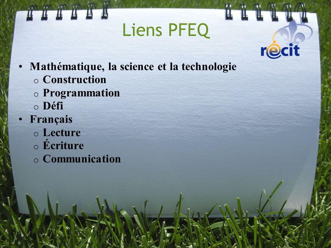 Liens PFEQ Mathématique, la science et la technologie Construction