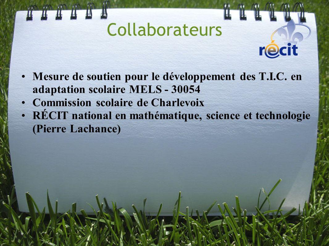Collaborateurs Mesure de soutien pour le développement des T.I.C. en adaptation scolaire MELS - 30054.