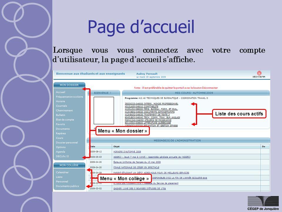 Page d'accueil Lorsque vous vous connectez avec votre compte d'utilisateur, la page d'accueil s'affiche.