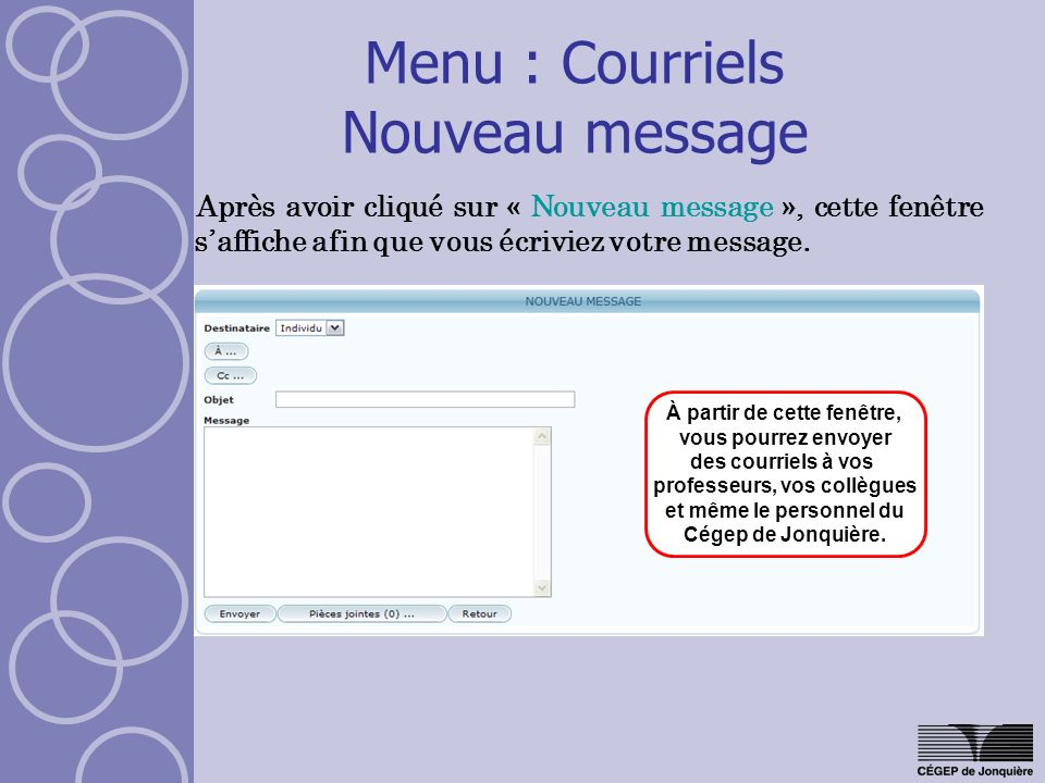 Menu : Courriels Nouveau message
