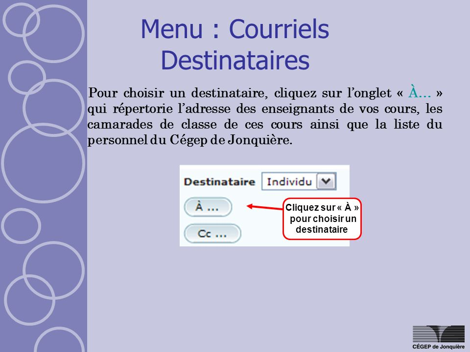 Menu : Courriels Destinataires