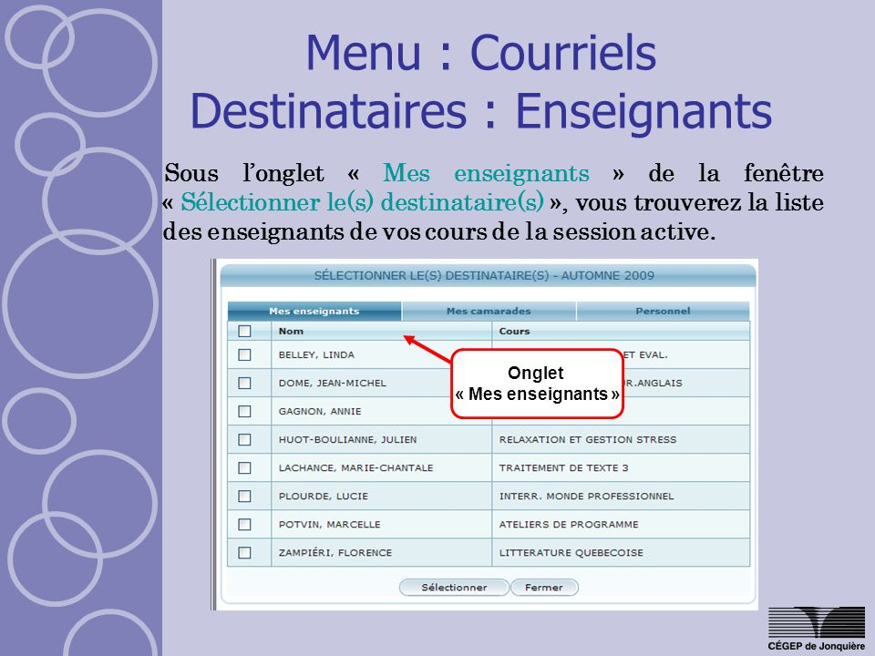Menu : Courriels Destinataires : Enseignants