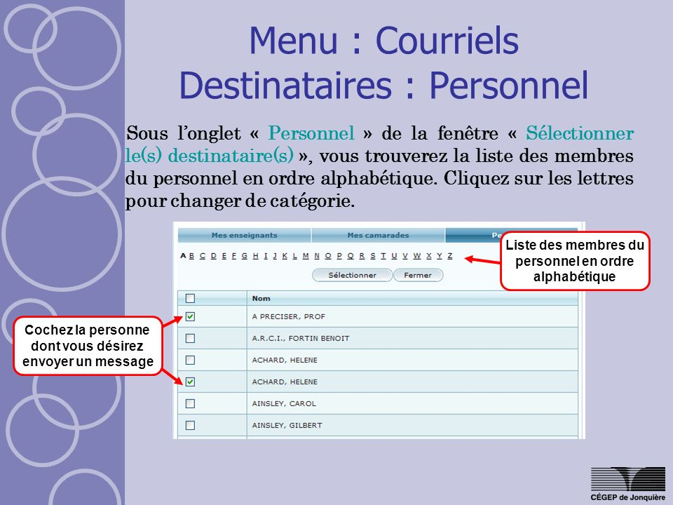 Menu : Courriels Destinataires : Personnel