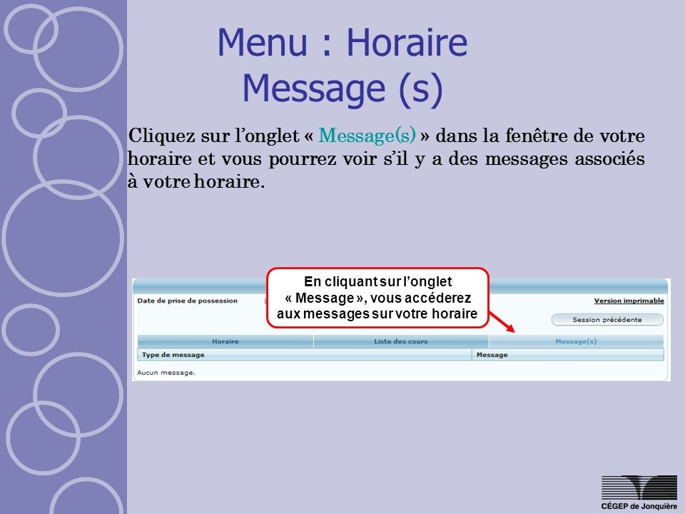 Menu : Horaire Message (s)