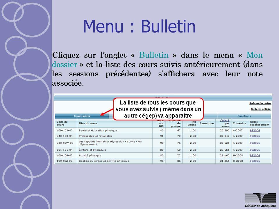Menu : Bulletin
