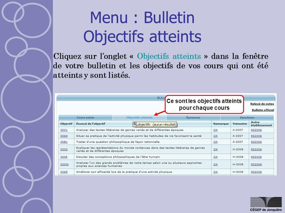 Menu : Bulletin Objectifs atteints