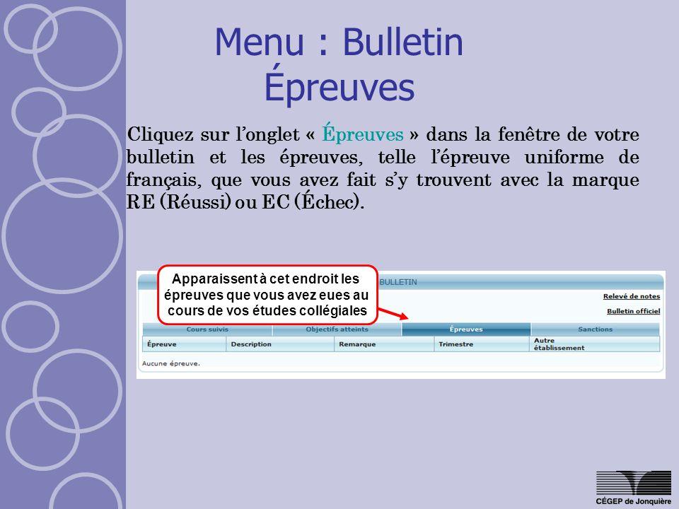 Menu : Bulletin Épreuves