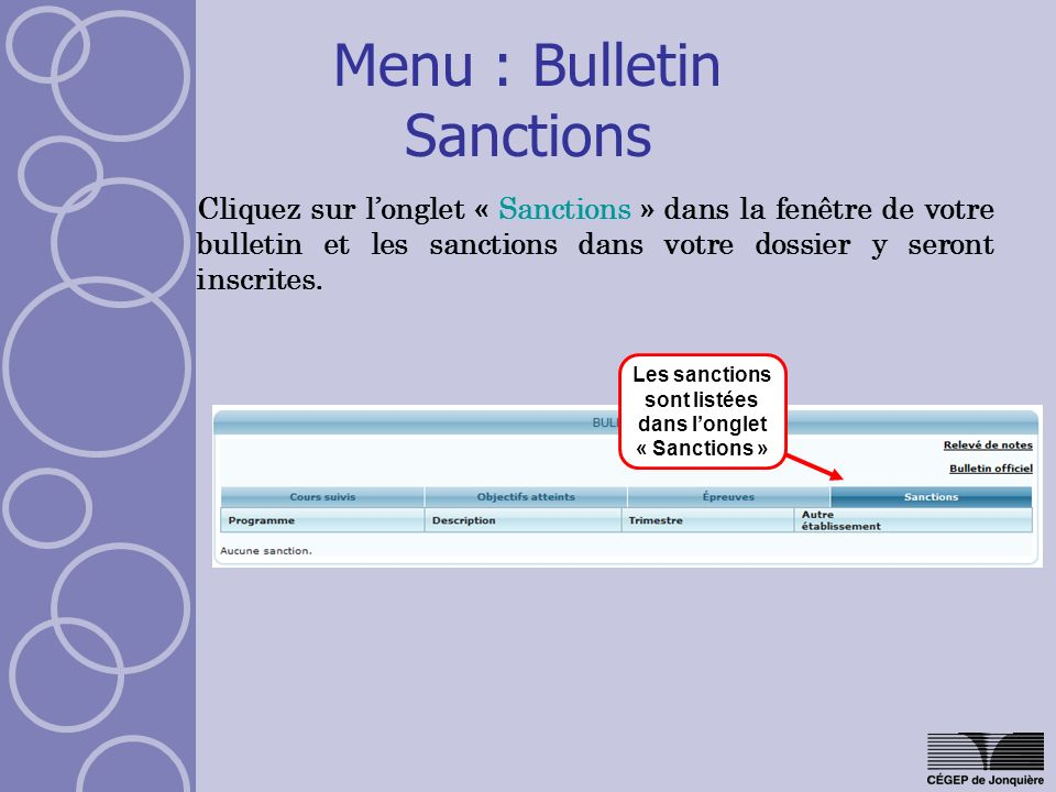 Menu : Bulletin Sanctions