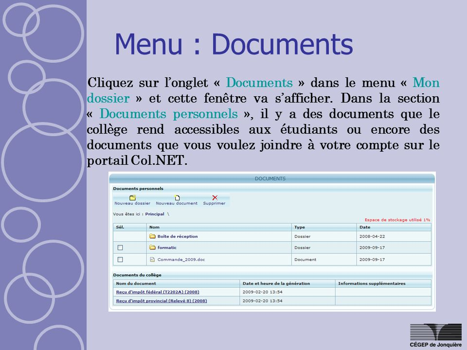 Menu : Documents