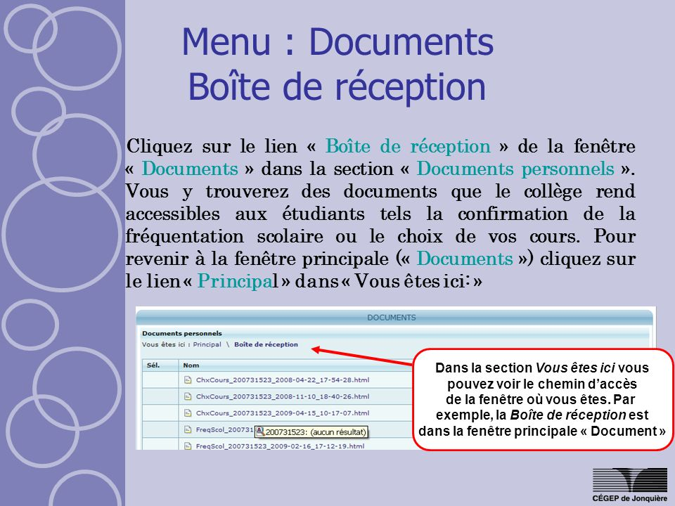 Menu : Documents Boîte de réception