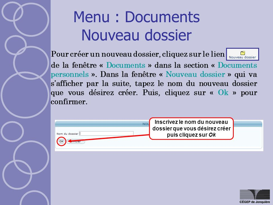 Menu : Documents Nouveau dossier
