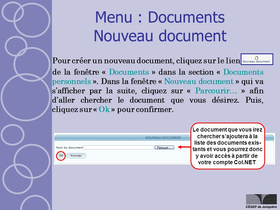 Menu : Documents Nouveau document