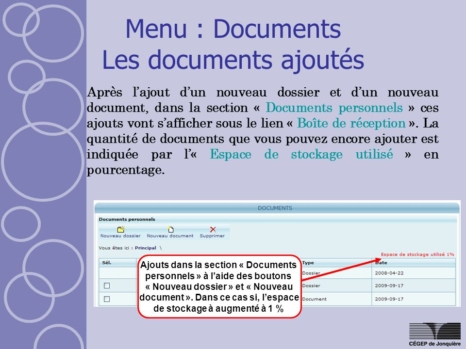 Menu : Documents Les documents ajoutés