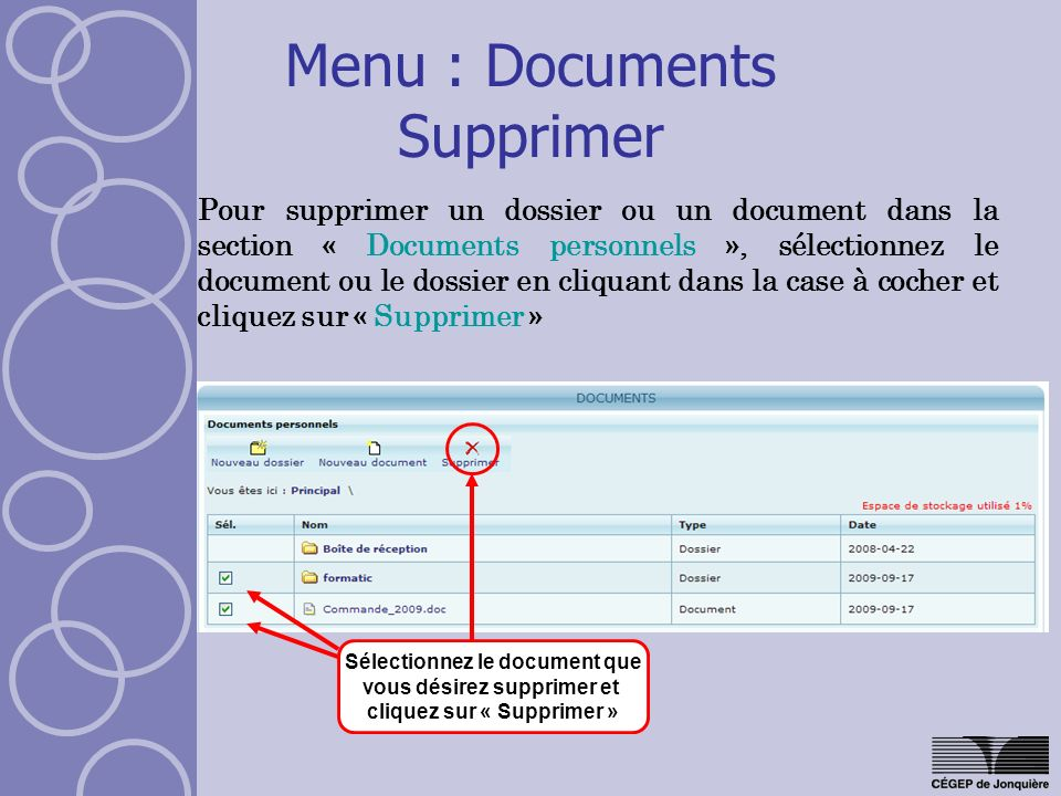Menu : Documents Supprimer