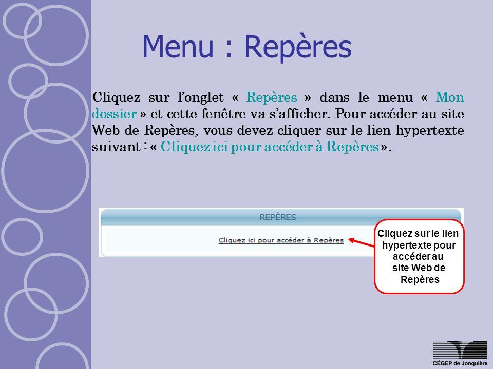 Cliquez sur le lien hypertexte pour accéder au site Web de Repères