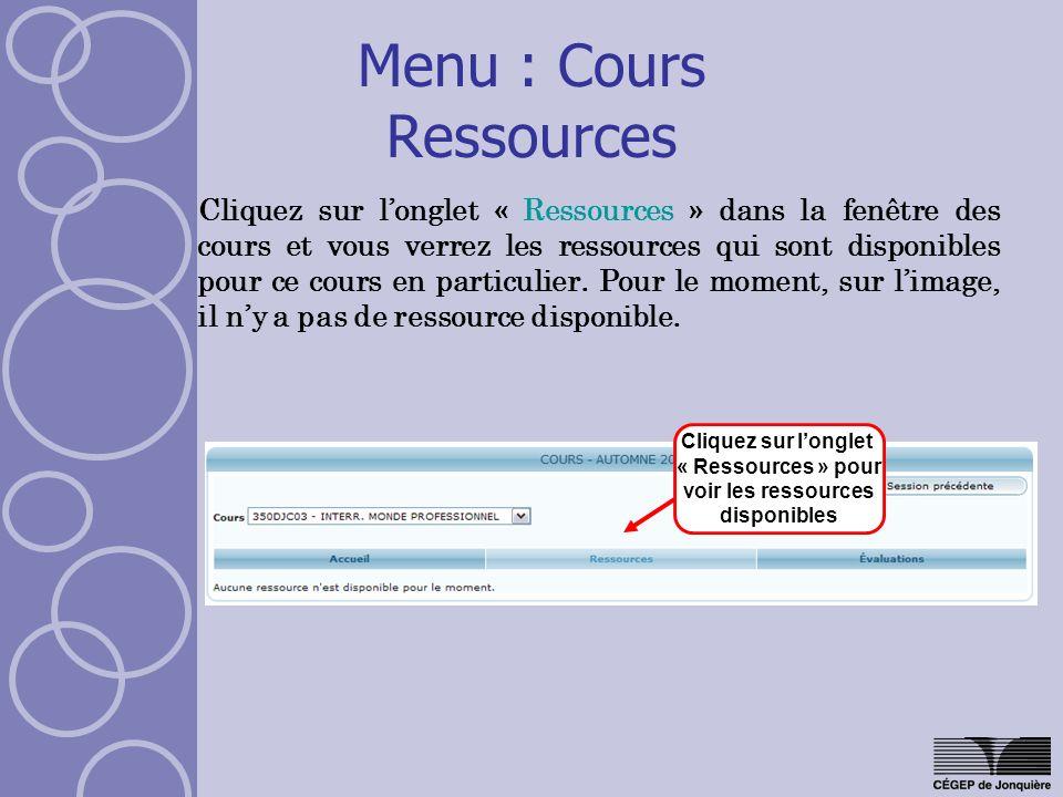 Menu : Cours Ressources
