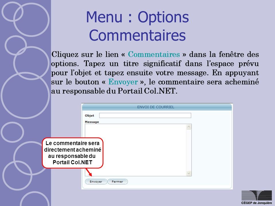 Menu : Options Commentaires