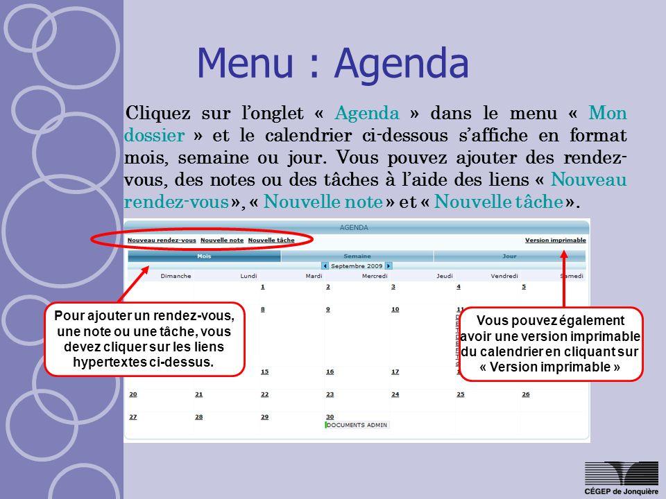 Menu : Agenda