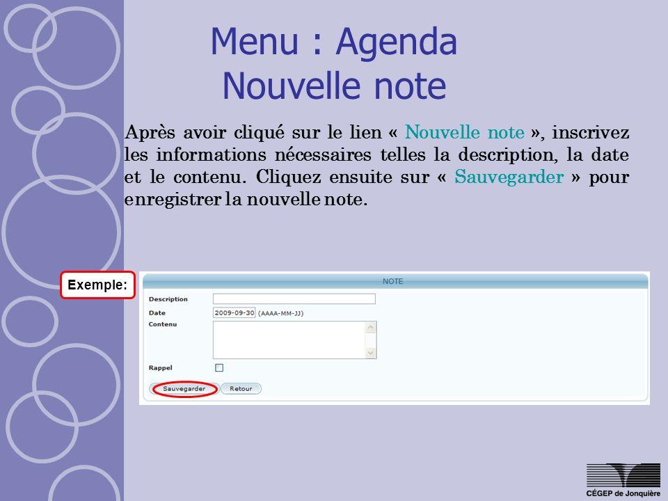 Menu : Agenda Nouvelle note