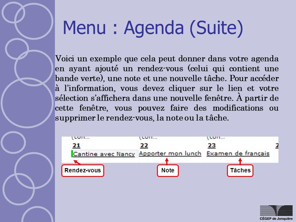 Menu : Agenda (Suite)