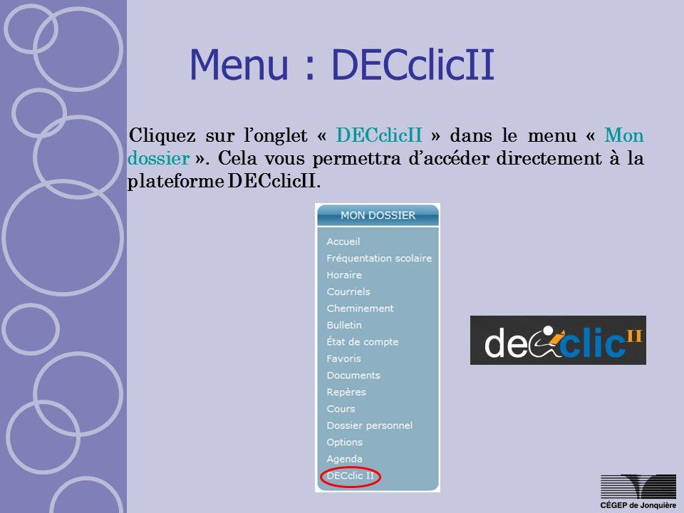 Menu : DECclicII