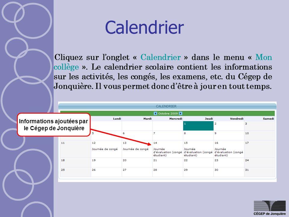 Informations ajoutées par le Cégep de Jonquière