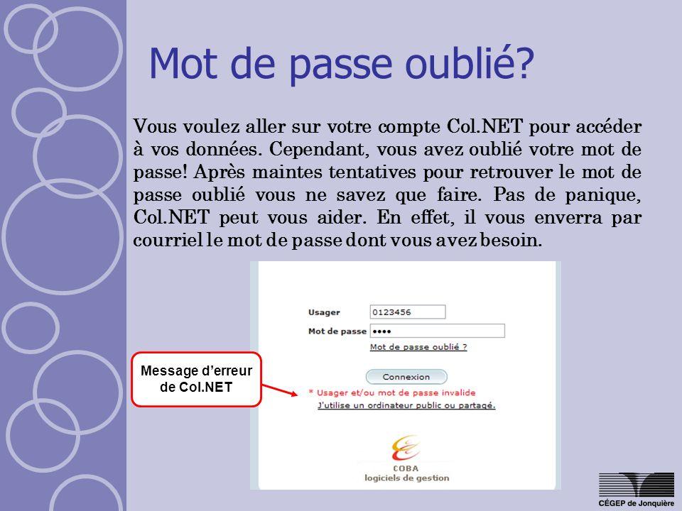 Message d'erreur de Col.NET