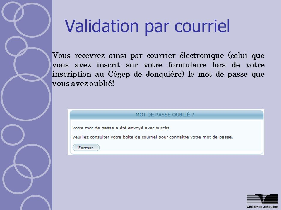 Validation par courriel