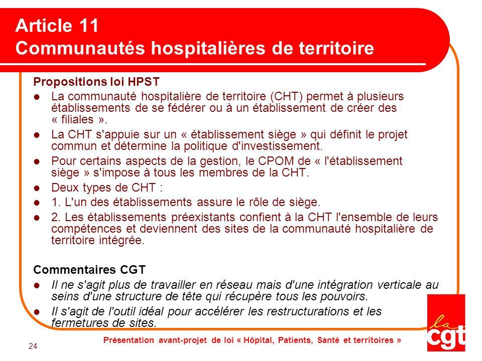 Article 11 Communautés hospitalières de territoire