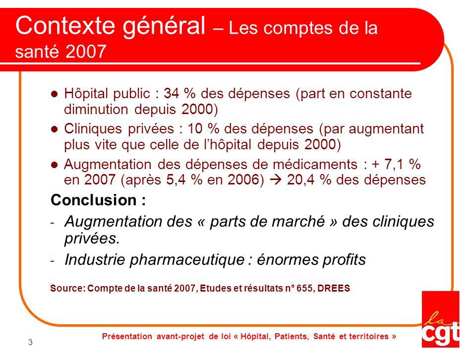 Contexte général – Les comptes de la santé 2007