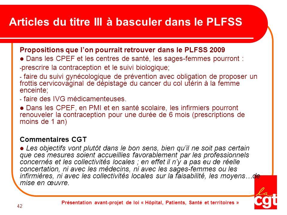 Articles du titre III à basculer dans le PLFSS