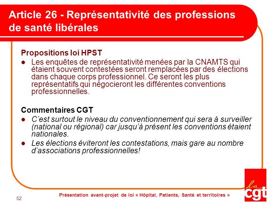 Article 26 - Représentativité des professions de santé libérales