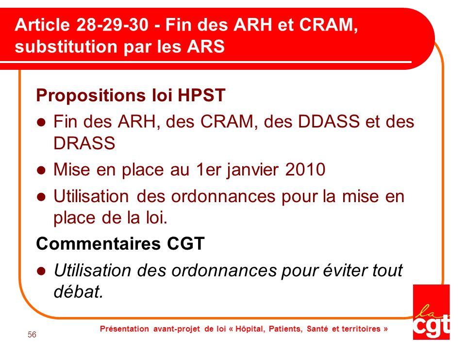 Article 28-29-30 - Fin des ARH et CRAM, substitution par les ARS