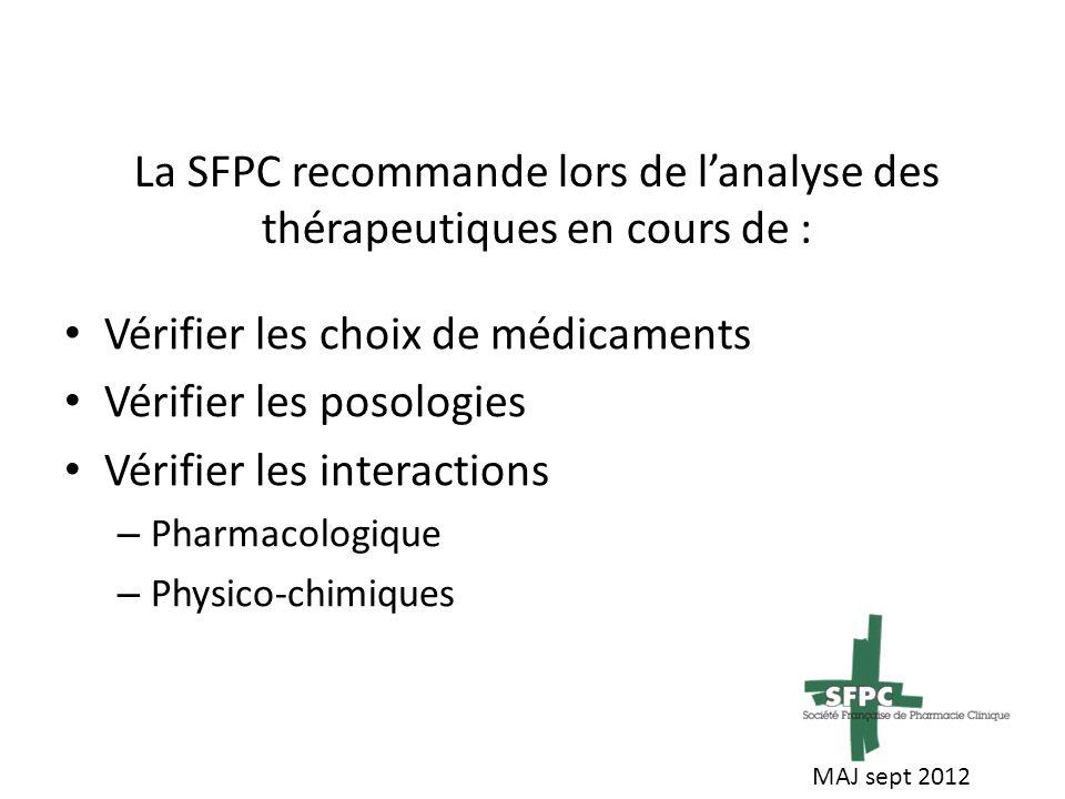 La SFPC recommande lors de l'analyse des thérapeutiques en cours de :